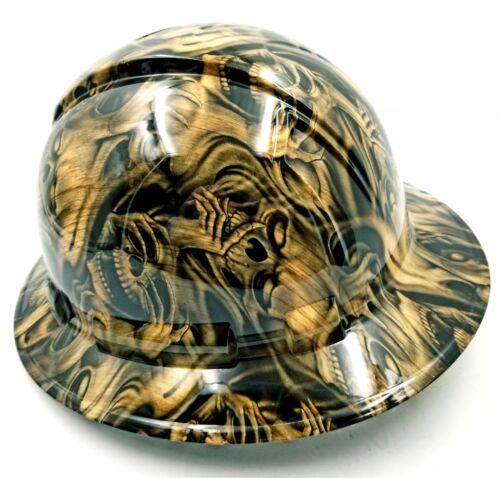 FULL BRIM Hard Hat custom hydro dipped , NEW PETRIFIED WOOD DEAD WOOD SKULLS NEW 4