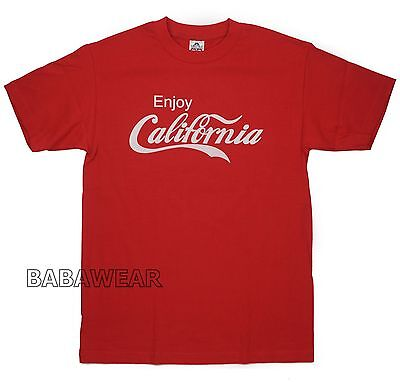 Enjoy California T-Shirt Red Coca Cola Like Coke Republic CALI BABA