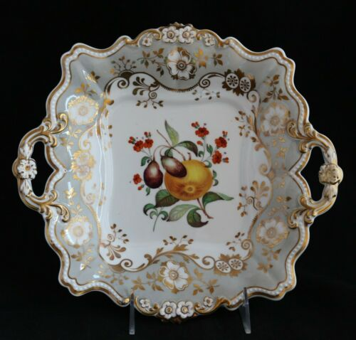 ANTIQUE 19th C. RIDGWAY Porcelain Cake platter plate hand painted fruits 2023