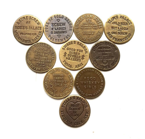 10 Solid Brass Brothel Cat House House Tokens Lot 1