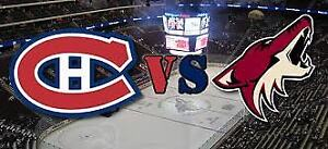 2 billets Blanc Central AA Canadiens vs Coyotes 23 jan.