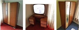 1960s Retro Bedroom set - 2 x Wardrobes + Dressing table - PRICED FOR QUICK SALE