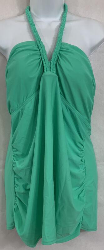 Liz Lange Maternity Sz XXL Mint Green Halter Tankini Swim Top Padded Braided Tie