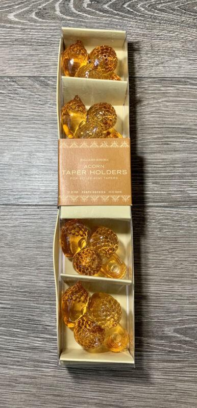 "Williams-Sonoma Thanksgiving Fall Acorn Taper Holders 10"" candles Orange New Box"
