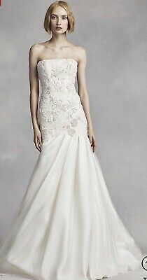 New Vera Wang Ivory Embroidered Lace Mermaid Wedding Dress Gown Size 6 NWT