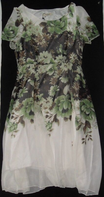 Luomeidisha Fashion Size M Women Dress White Green Brown Flowers Chiffon NWT!!