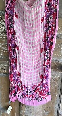 NWT LUCKY BRAND PINK RED PURPLE FLORAL SCARF  29x69