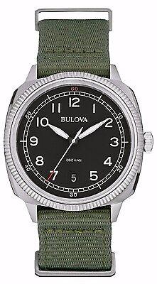 Bulova Men's 96B229 Military UHF Quartz Black Dial Green Nylon Band Watch
