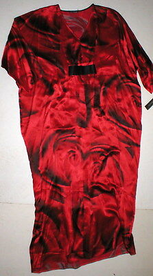 NWT New Designer Josie Natori M Caftan Night Gown Womens Silk Red Black Roses