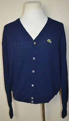 Vintage IZOD LACOSTE Cardigan Sweater Mens Size XL Navy Blue 100% Acrylic