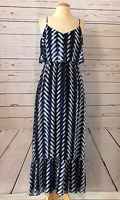 MAGGY LONDON Size 8 Printed Chiffon Long Maxi Dress Blue Black NWOT NEW - Maggy London Chiffon Dress