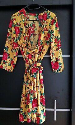Gelber Kimono (Kleid Muster Blumen Gelb Wickelkleid Kimonokleid Sommer 42)