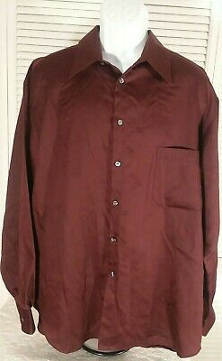 Crazy Horse Button Front Shirt Mens 18 36-37 Burgundy  Sateen EXCELLENT SHINY F1 for sale  Perry