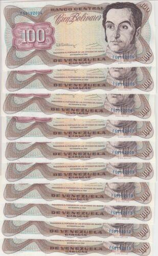 Venezuela Banknote P66e 100 Bolivares 1992, Lot of 10, UNC
