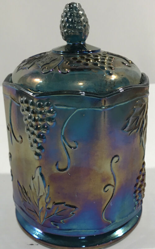 Vintage Indiana Carnival Iridescent Glass Canister Jar With Lid Blue Harvest