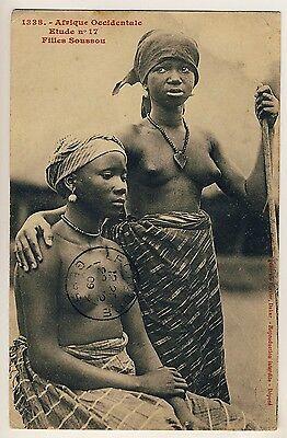 Senegal SOUSSOU WOMEN / JUNGE FRAUEN * Vintage 10s Ethnic Nude PC FORTIER #1338