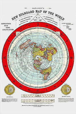 Flat Earth Map - 2  Gleason's New Standard Maps Of The World - Large 24