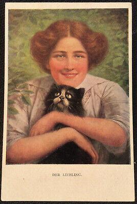 Lady with Kitten Der Libeling Vintage Postcard