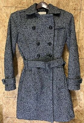 Banana Republic Womans Long Wool Coat Jacket Black Gray w/ Belt Tie Medium Wool Belt Tie Coat Jacket