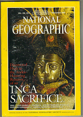 National Geographic Magazine November 1999 Inca Sacrifice Feathered Dinosaurs