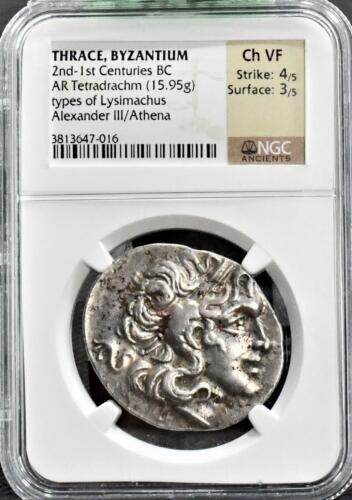 RARE ITEMS An Ancient Greek Silver Tetradrachm of Alexander III / Athena