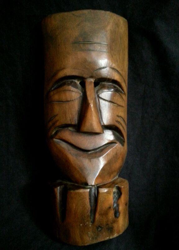 """Antique carved wood mask 9.75"""""""
