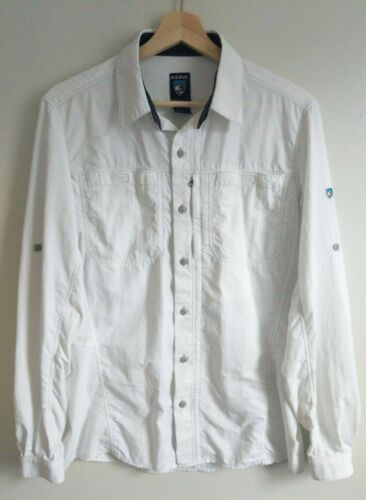 Kuhl Womens Airspeed Button Tab Sleeve Shirt White Small Hiking Vent Quick Dry