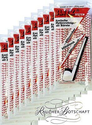 10 x 80 Blitz Pfeifenreiniger konisch rot-weiß SWISS-MADE Pipe-Cleaner #910