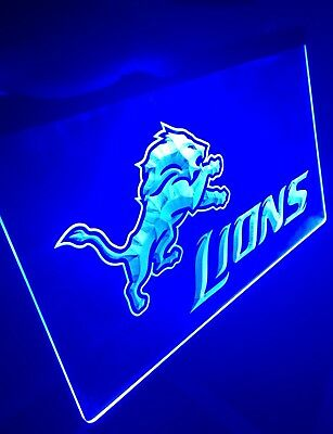 NFL DETROIT LIONS LED Neon Sign for Game Room,Office,Bar,Man Cave, (Detroit Lions Neon Sign)