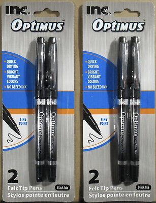 2 Inc. Optimus Felt Tip Fine Point Black Ink Pens With Caps 2 Packs