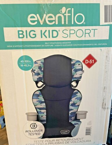 Evenflo Big Kid Sport Car Seat Rollover Tested Blue Print New In Box