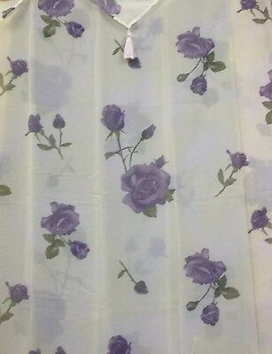 Purple Rose Floral Flowers Shower Curtain Set with Vinyl Liner Plastic and Hooks - Plastic Curtains