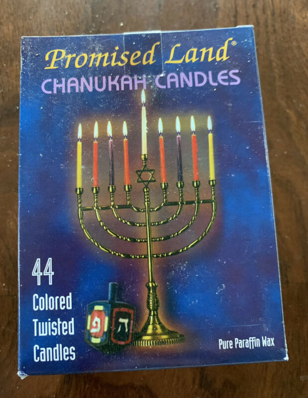 """Promised Land Chanukah Candles 44 Colored Twisted Candles Pure Paraffin Wax 4"""" H"""