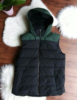 MEDIUM TIMBERLAND A1MLZ-N19 MEN'S BLACK GREEN DOWN FILL HOODED VEST -