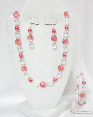 NEW- CHERRY QUARTZ  & CLEAR NECKLACE, BRACELET & EARRINGS 4 PC. JEWELRY SET-