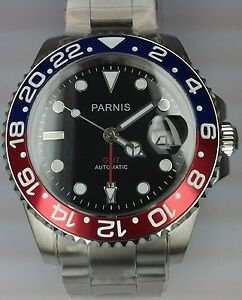 PARNIS-AUTOMATIC-GMT-SUBMARINER-POWER-RESERVE-MENS-UHR-OROLOGIO-MONTRE-WATCH