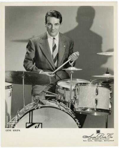Jazz Drummer Gene Krupa w his Drum Kit original 1950s 8x10 agency photograph