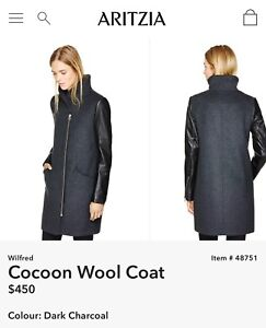 Wilfred cocoon wool coat with leather sleeve