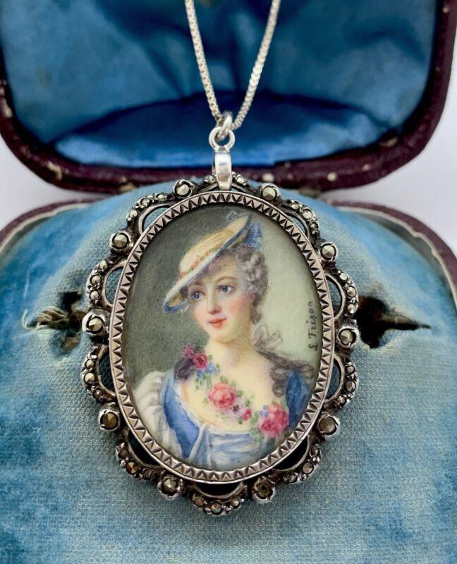French Victorian Silver/marcasite Hand Painted portrait miniature Pendant