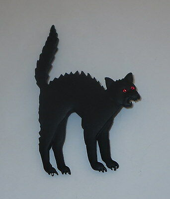 Black Cat Pin Arched Back Hissing Halloween Crystal Eye Accents Artifacts New  - Hissing Black Cat Halloween