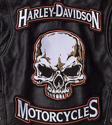 HARLEY ROCKERS & SKULL BACK PATCH Motorcycle Large IRON ON Jacket Vest 3pc. Set