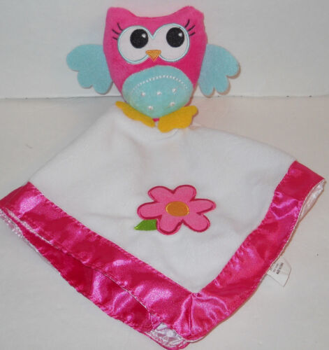 Dan Dee Pink Owl Security Blanket Plush Baby Girl Lovey Flower Teal Green 13x15