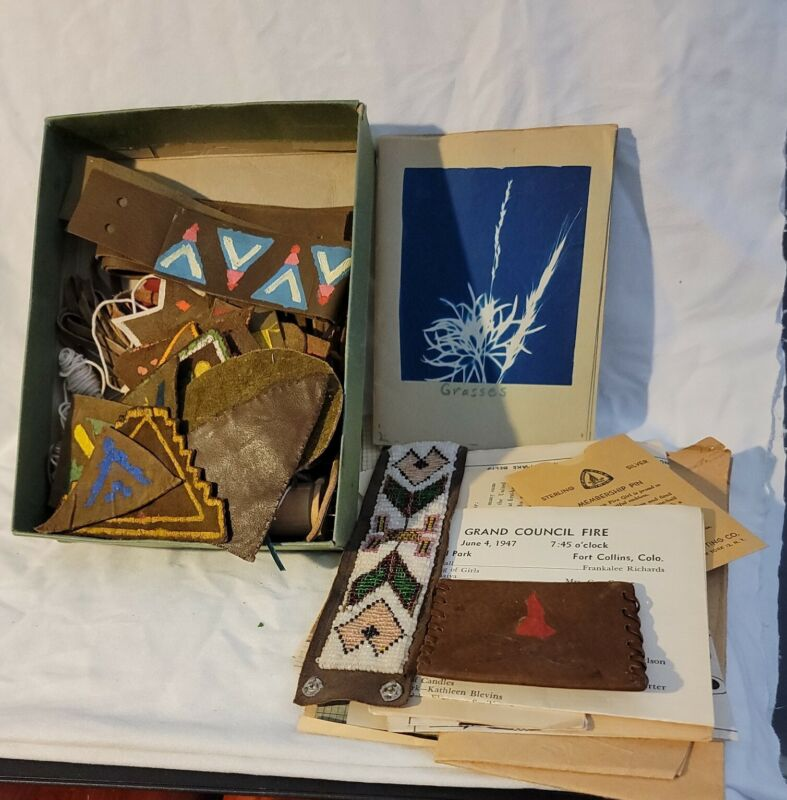Vtg Campfire Girls Large Lot. Leather items and Patches. Block prints and more