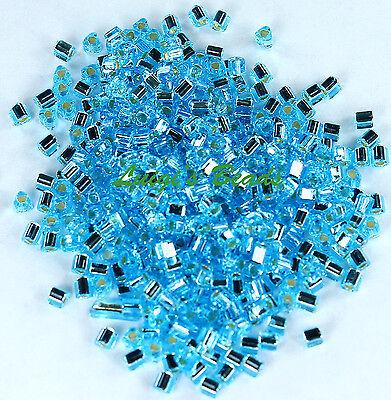 11/0 Triangle Toho Japan Glass Seed Beads #23- Silver-Lined Aquamarine 15g