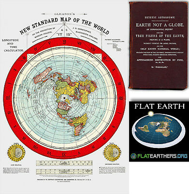 "Flat Earth Map - Gleason's New Standard Map Of The World - Large 24"" x 36""  1892"