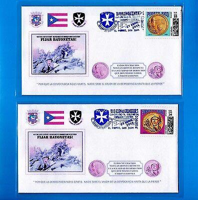 2pc FDC BORINQUENEERS Tribute Set 2016 MEDAL OF HONOR Puerto Rico 65 INFANTERIA