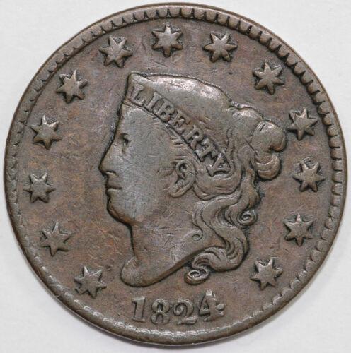 1824/2 1c N-1 Coronet or Matron Head Large Cent