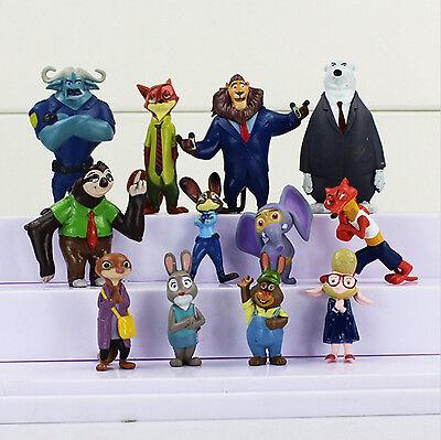 Disney ZOOTOPIA 12 Figure Cake Topper Set Judy Nick Wilde LOOSE Figurine toy