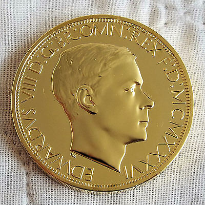 EDWARD VIII 1936 GOLD COATED COPPER PROOF PATTERN GEORGE & DRAGON PE CROWN - coa