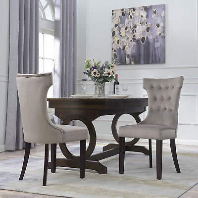 (Set of 2 Parsons Elegant Tufted Upholestered Dining Chair Living Dining, Taupe)